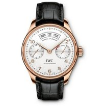 IWC IW503504, Portugieser, Silver Dial, Red Gold and Leather