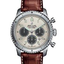 Breitling Navitimer 8 gebraucht 43mm Silber Chronograph Datum Krokodilleder
