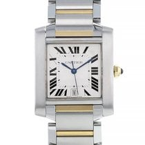 Cartier Tank Française pre-owned 24mm Silver Date Gold/Steel