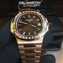 Patek Philippe Nautilus Rose Gold Baguette Diamonds Brown Dial...