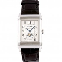Jaeger-LeCoultre Grande Reverso Calendar pre-owned 29.9mm Silver Moon phase Date Weekday Month Leather