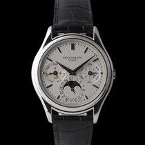 Patek Philippe Platinum Automatic Silver 36mm pre-owned Perpetual Calendar