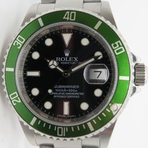 Rolex Submariner Green 16610lv 50th Anniverssary M Serial W/ Card