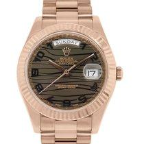 Rolex 218235 Day Date II 18k Rose Gold Bronze Wave Dial Watch