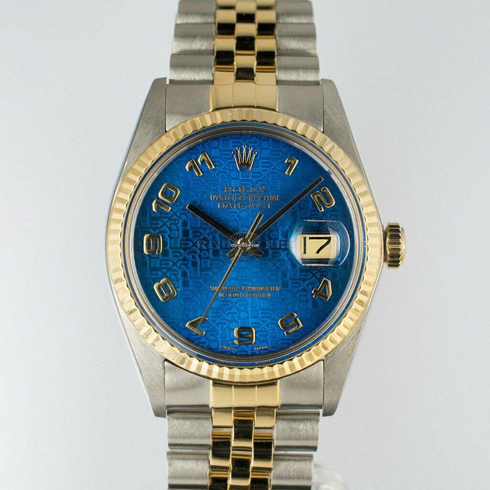 d13a3cab3e6 Rolex Datejust Herren Uhr Blue Dial Stahl/gold Ref.16013 Papiere für 4.199  € kaufen von einem Trusted Seller auf Chrono24