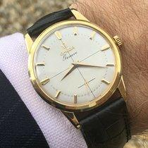Omega Geneve Sub Dial Crosshair Mens gold watch + Green Omega Box