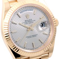 Rolex 40mm 18k Yellow Gold Day-Date Silver Motif Dial - Box...