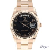 Rolex Day-Date 36 Everose Fluted / Oyster / Black Arabic