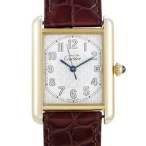 Cartier Tank (submodel) pre-owned 25mm White Date Crocodile skin