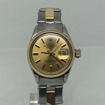 Rolex Oyster Perpetual Lady Date Gold/Steel 26mm Champagne No numerals