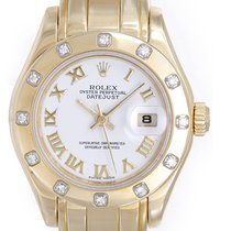 Rolex Lady-Datejust Pearlmaster pre-owned 29mm White Date Yellow gold
