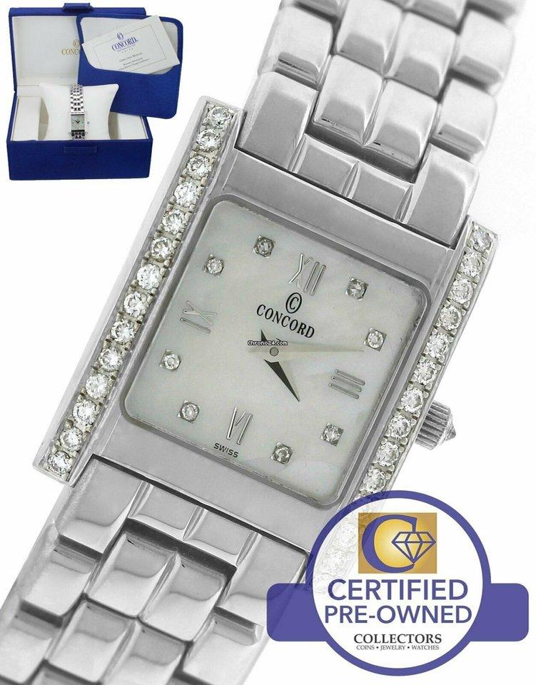 Concord Ladies Concord La Tour White MOP Diamond 14K White Gold 66 25 648  Quartz Watch