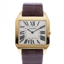Cartier Yellow gold Manual winding Silver 35mm pre-owned Santos Dumont