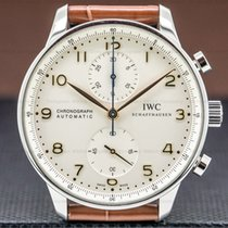 IWC Steel Automatic Silver 40mm pre-owned Portuguese Chronograph