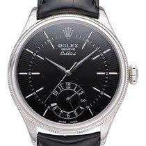 Rolex Cellini Dual Time Белое золото 39mm Чёрный Без цифр