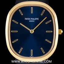 Patek Philippe 18k Y/G Blue Sunburst Dial Golden Ellipse...