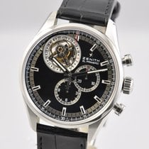 Zenith El Primero Tourbillon pre-owned 44mm Black Chronograph Tourbillon Date Crocodile skin