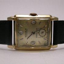 Gruen Veri-thin Art Deco 1950s 14k Yellow Gold Black Leather...