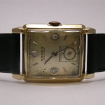 Gruen Veri-thin Art Deco 1950s 14k Yellow Gold Black Leather...