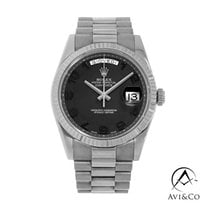 Rolex Day-Date II pre-owned 41mm Black Date White gold