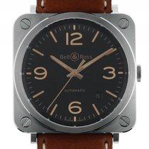 Bell & Ross BR S Golden Heritage Stahl Automatik Armband Leder...
