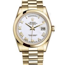 Rolex DAY-DATE 36mm 18K Yellow Gold President White Roman 118208