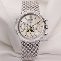 Patek Philippe 3970 White gold 1990 Perpetual Calendar Chronograph 36mm pre-owned