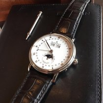 Blancpain Villeret Quantième Complet pre-owned 40mm White Moon phase Date Weekday Month Crocodile skin