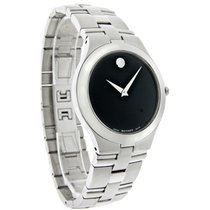 Movado Juro Mens Black Dial Stainless Steel Swiss Quartz Watch...