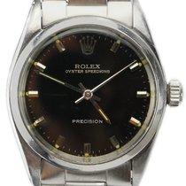 Rolex 30.5mm Remontage manuel 1968 occasion Oyster Precision Noir