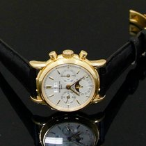 Patek Philippe Yellow gold Manual winding Silver No numerals 36mmmm pre-owned Perpetual Calendar Chronograph