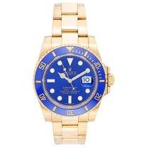 Rolex Submariner 18k Gold Men's Watch 116618 Blue Dial