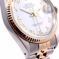 Rolex 36MM Mens 18K/SS Datejust White Roman Dial