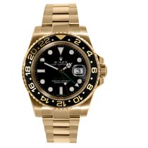 Rolex GMT-MASTER II 18K Yellow Gold Black Dial Watch 116718