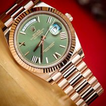 Rolex Day-Date 40 Rose gold Green UAE, Gold and Diamond Park Bulding #5 Dubai