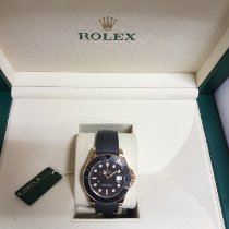 Rolex Rose gold Automatic Black No numerals 37mm pre-owned Yacht-Master 37