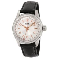 Oris Big Crown Pointer Date Silver Dial Leather Strap Men's Watch