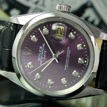 Rolex Oyster Perpetual Date Automatic Steel Mens Purple Dial...