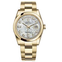 Rolex DAY-DATE 36mm 18K Yellow Gold President White MOP Diamond