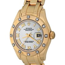 Rolex Lady-Datejust Pearlmaster Желтое золото 28mm Перламутровый Римские