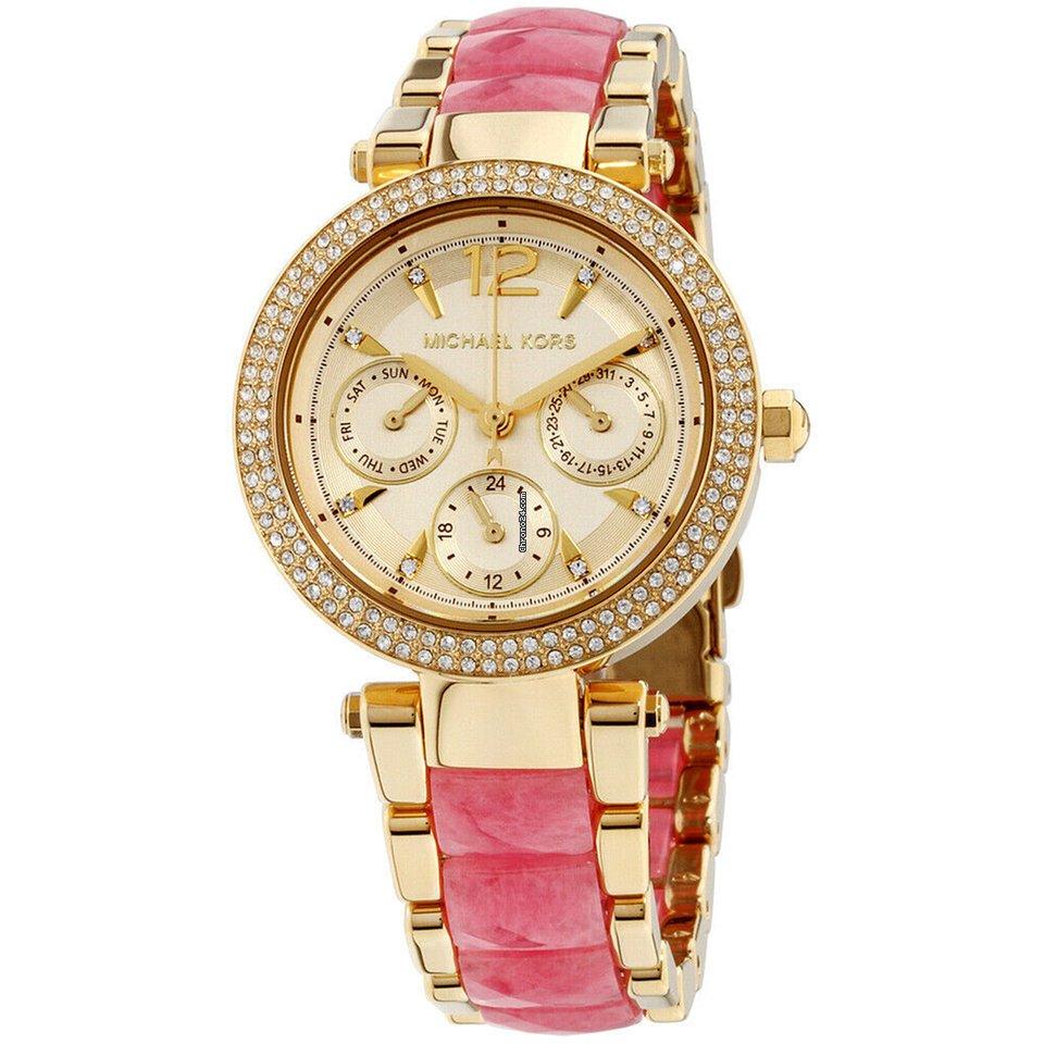 Michael Kors Mini Parker Quartz Movement Gold Dial Ladies Watch Mk6573