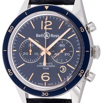 Bell & Ross BR V1 pre-owned 43mm Blue Chronograph Date Leather