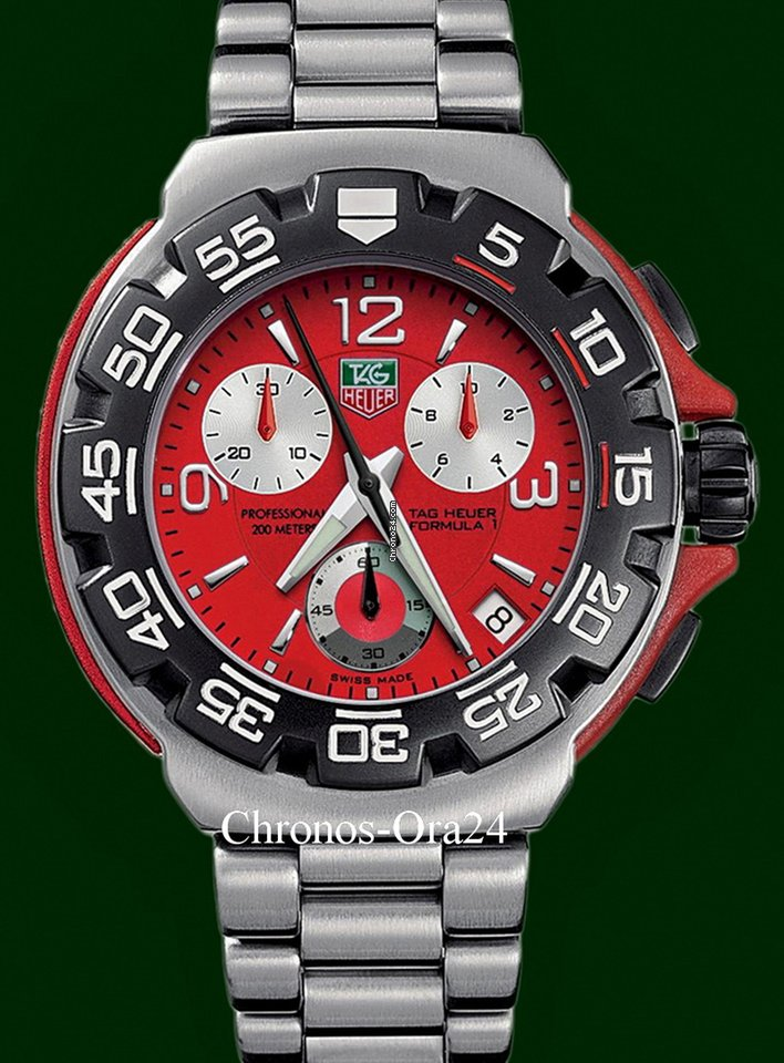 35d2cb82d46 TAG Heuer Formula 1 Stainless Steel 41mm Chronograph Red Dial for S ...