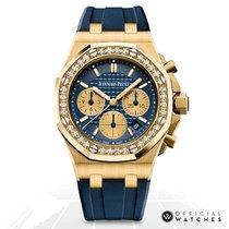 Audemars Piguet Yellow gold Automatic Blue No numerals 37mm new Royal Oak Offshore Lady