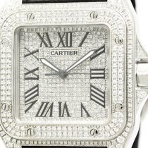 カルティエ (Cartier) Santos 100 Lm Custom Diamond Steel Mens Watch...