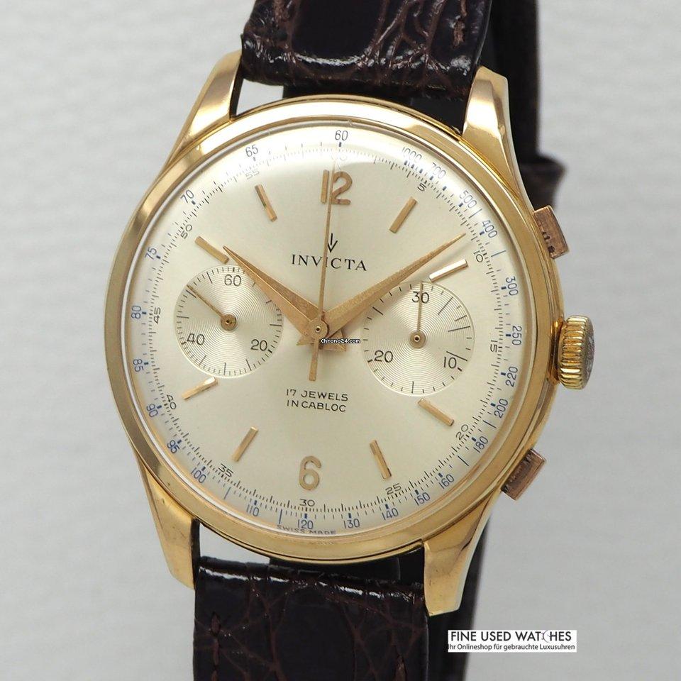 18k750 Gold Valjoux Invicta Chronograph Vintage 23 QrWEdoCBex