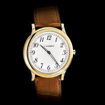 L.Leroy Men's Watch Grand Osmior 18K YG Ultra Thin Brown Strap