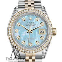 Rolex Stainless Steel And Gold 36 Mm Datejust Watch Baby Blue...