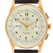 Breitling Cadette Chronograph 18kt Gelbgold Handaufzug Armband...