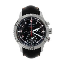 Breguet Type XX - XXI - XXII pre-owned 44mm Black Chronograph Flyback Date GMT Leather